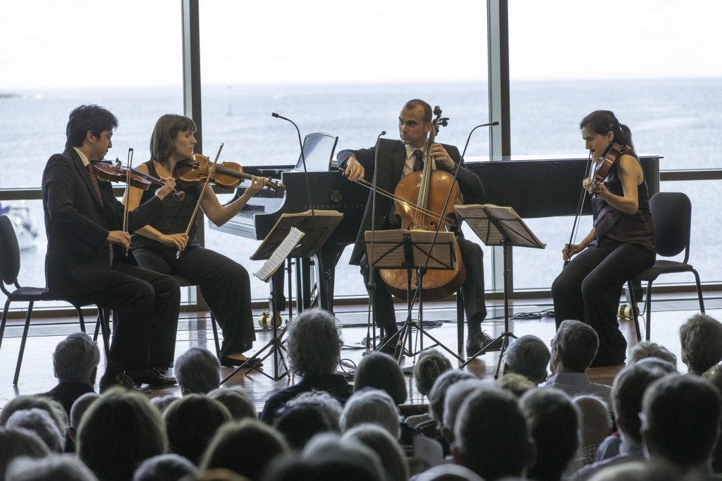 Jupiter String Quartet concentrates (Michael J,. Lutch photo)