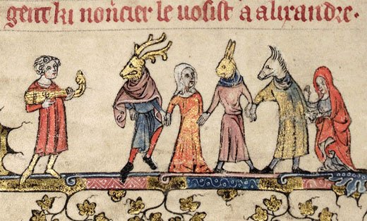 December revelers, from a medieval French manuscript