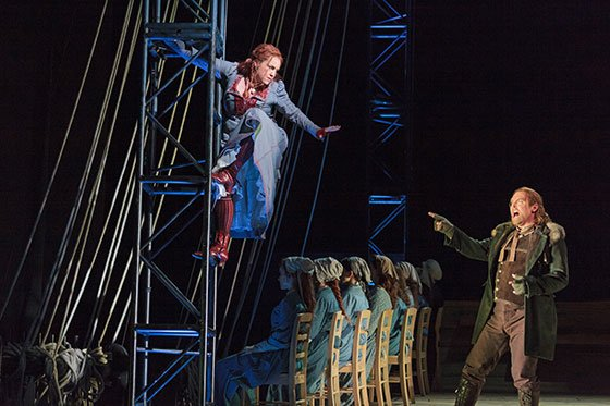 Melody Moore as Senta and Jay Hunter Morris as Erik in The Glimmerglass Festival's 2013 production of Wagner's The Flying Dutchman.(Karli Cadel/TheGlimmerglass Festival)