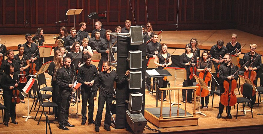The Tanglewood Music Center performed the U.S. premiere of Marco Stroppa's Let Me Sing Into Your Ear on Thursday night with amplified basset horn player Michele Marielli. (photo by Gabriel Scott)