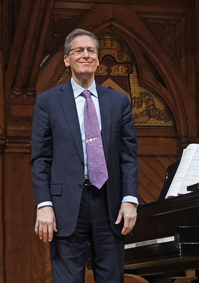 Robert Levin in recent Cambridge recital (BMInt staff photo)