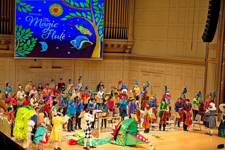 BYSO and BSO Musicians perform during the BSO Family Concert- Mozart's The Magic Flute, at Symphony Hall on March 30, 2014, Conducted by BYSO Music Director, Federico Cortese, Directed by Bill Barclay and Costumes, Puppetry and Make-Up Design by Katheleen Doyle. (Stu Rosner photo)