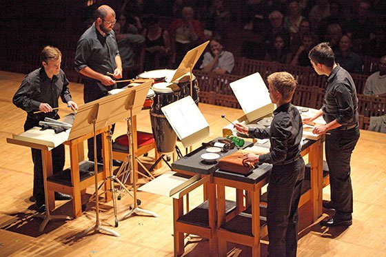 Four percussionists perform Seung An Ohs Canonic Phase