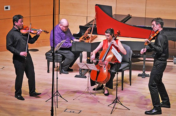 Frank Huang and Jesse  Mills, violins; Peter Sykes, harpsichord; and Claire Bryant, cello (Russell Burleigh photo)