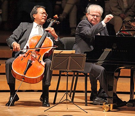 Yo-Yo Ma and Emmanuel Ax emote at Ozawa Hall (Hilary Scott photo)