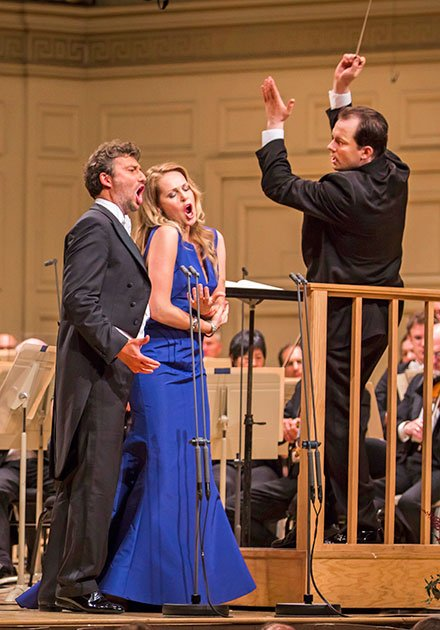 Kristine Opolais and Jonas Kaufmann emote for Andris Nelsons (Chris Lee photo)