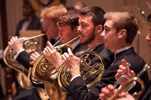 BPYO horns: (from left) Gabriel Lesnick, Sebastian Kogler, Lorenzo Robb, and Nate Klause (Steve Dunwell photo)