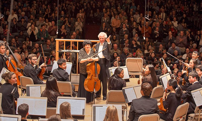 Natalia Gutman and Benjamin Zander after the concerto (Steve Dunwell photo)