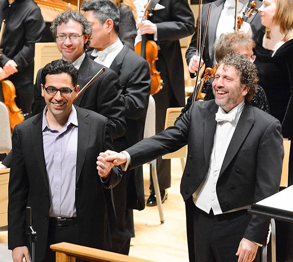 Composer Avner Dorman and conductor Asher Fisch (Stu Rosner photo)