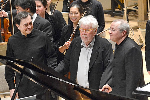 Pierre-Laurent-Aimard,-Harrison-Birtwistle,-and-Stefan-Asbury-bow-following-the-BSO's-American-premiere-performance-of-Birtwistle's-Responses (Ttu Rosner photo)