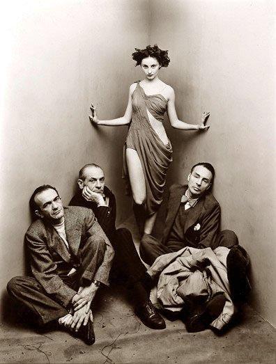 Left to right, Corrado Cagli, Vittorio Rieti, Tanaquil Le Clercq and George Balanchine (Irving Penn photo)