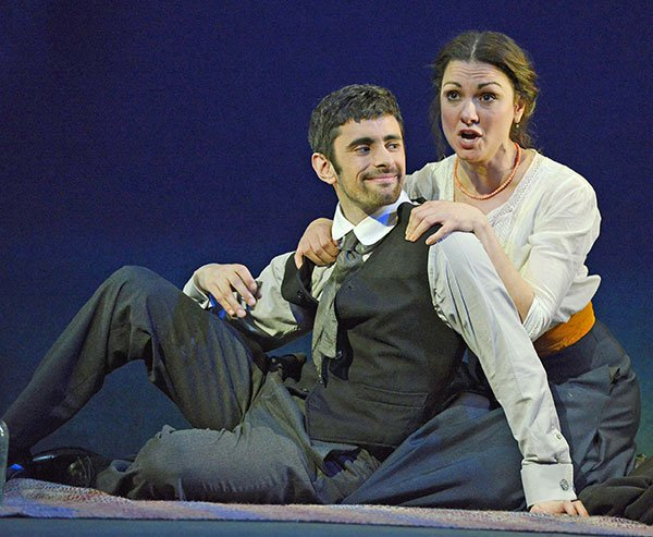 Vanya  (Sandra Piques Eddy) and Varvara (Omar Najmi) enjoy a furtive meeting (Eric Anoniu photo)