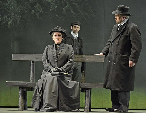 As Vanya (Omar Najmi) looks on, domineering mother Kabanicha dresses down her put-upon son Tichon Kabanov (Alan Schneider) (Eric Antoniu photo)
