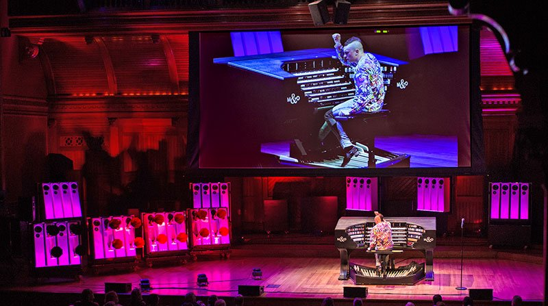 ameron Carpenter performs the International Touring Organ at his Celebrity Series recital Thursday night. (Robert Torres photo)
