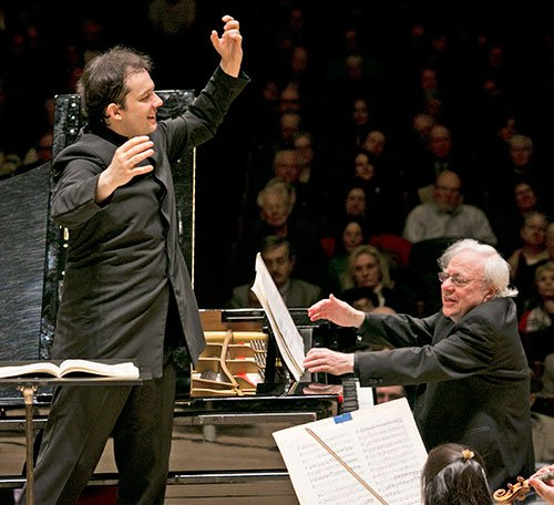 Andris Nelsons and  Richard Goode (Dominick Reuter photo)