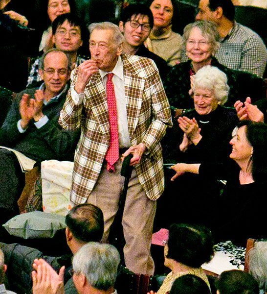 Gunther Schuller-bows following performance of his Dreamscape at BSO in April (Dominick Reuter photo)