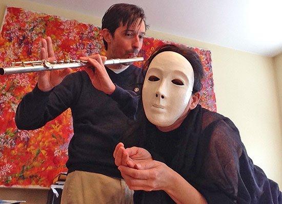 Flutist Orlando Cela and puppeteer Avital Peleg