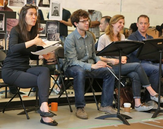 Director Diane Paulus and Composer Matthew Aucoin, center