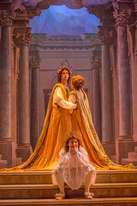 David Hansen (Nerone), Nell Snaidas (Amore), and Amanda Forsythe (Poppea) (Frank Siteman photo)