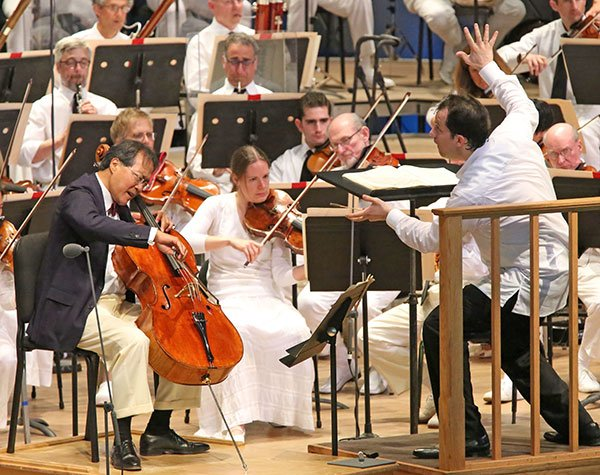 Yo Ma with Andris Nelsons (Hilary Scott  photo)