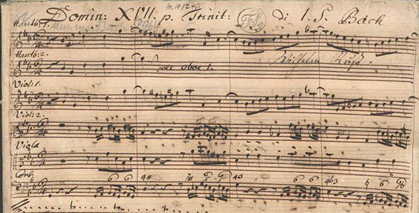Manuscript of title page of opening cantata.