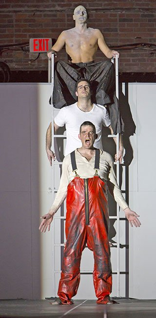 (From top): Yury Yanowsky as the Man, Neal Ferreira as The Visitor, and David McFerrin as The Officer Charles Erickson photo)