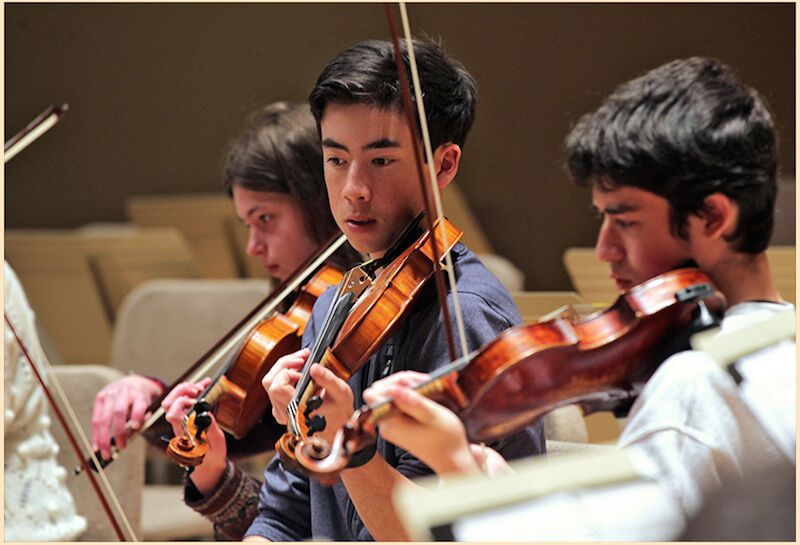 Rapt attention in the string section (BPYO photo)