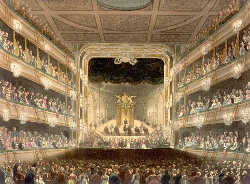 Covent Garden Theatre showing Handel's large organ in 1743.