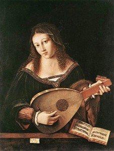 Barolomo Veneto's femal lute player (Gardner Museum)