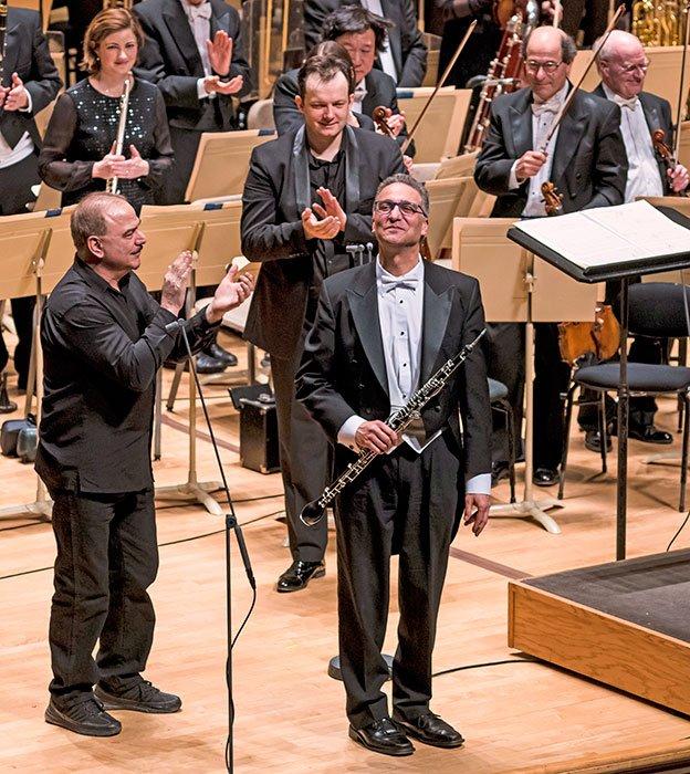 Composer George Tsontakis, BSO principal English-horn, Robert-Sheena, and Andris-Nelsons, (Liza Voll photo)