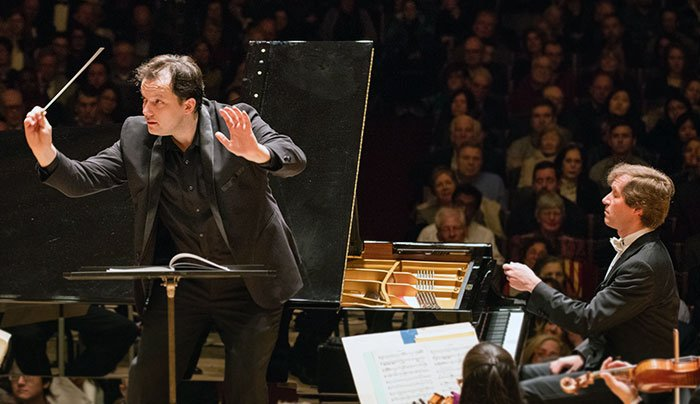 Andris Nelsons conducts Nikolai Lugansky and the BSO (Michael Blanchard photo)
