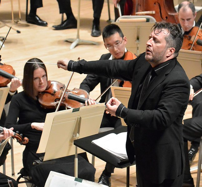 Thomas Ades leads the Boston Symphony (Stu Rosner photo)
