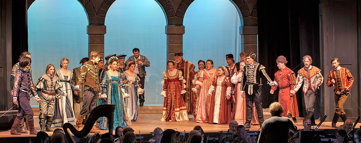 In the trouser (and codpiece) role of Stephano, soprano Kim Lamoureux (at left) sounded fresh-voiced and Cherubinoesque.