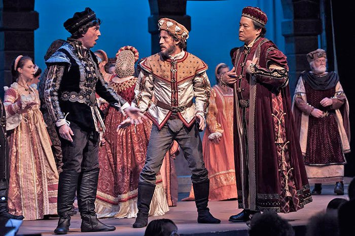Gergory Merklin (Paris) mediates between the compelling Tybalt of Stanley Wilson and the intence baritone of Count Capulet (BMint's own James C. C. Liu