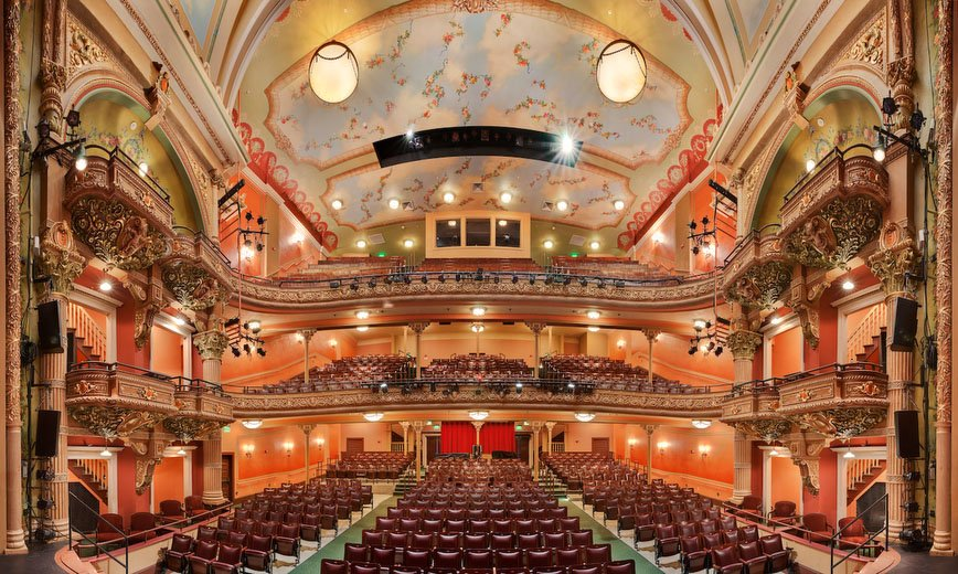 The recently restored 1903 Colonial Theater now possess fine stage facilities and lobbies as well as a jewel box house.