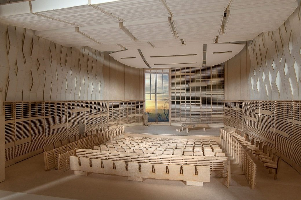 MOdel of Wilson Architect-designed University Hall Recital Hall.