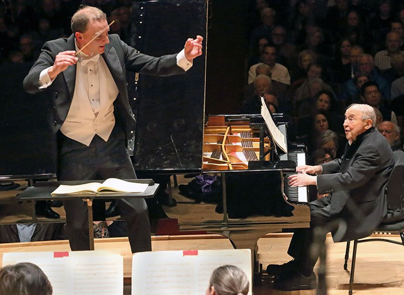 Moritz Gnann leads BSO and Menahem Pressler (Hilary Scott photo)